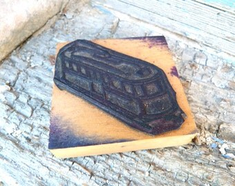 Vintage French Paper Printer illustrators Wooden and Rubber Stamp Tramway