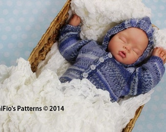 KNITTING PATTERN For Hooded Baby Jacket  in 2 Sizes PDF 272 Digital Download