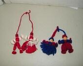 4 Vintage Handmade Yarn Dolls Doll TINY 7094