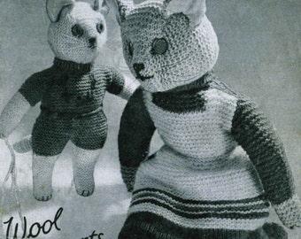 Vintage Cat and Kitten, Knitting Pattern, 1950/1960 (PDF) Pattern, Homecraft 388