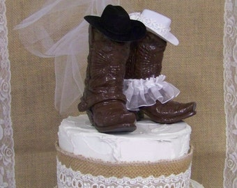 Western Cake Topper-New, Larger Boots, His and Her Western Cowboy Boots-Wedding Cake Topper-Barn Wedding, NEW Larger Boots