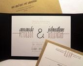 Modern Rustic Wedding Invitation Pocketfold,  Custom Invites, Black and White, Kraft Paper, Industrial Chic, Invitations and Paper, Weddings