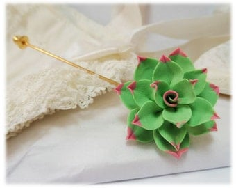 Pink Tip Succulent Brooch or Stick Pin - Pink Tip Succulent Jewelry