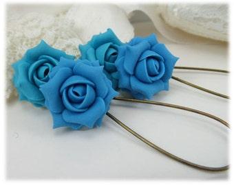 Turquoise Rose Dangle Earrings - Turquoise Rose Drop Earrings