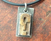 Reserved for Bonnie.  Letterpress question mark,  Pendant,  Oxidized Sterling Silver