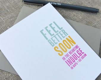 Letterpress Get Well Card: Indulge in Ice Cream and Naps - Thinking Out Loud series