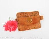 1960s Leather Souvenir Pouch ~ Change Purse ~ White Beauty View, Lake Wallenpaupack,PA
