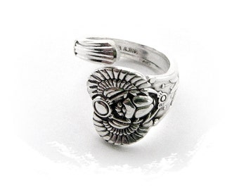 SILVER RING - Silver Egyptian Scarab Beetle Spoon Ring (R1)