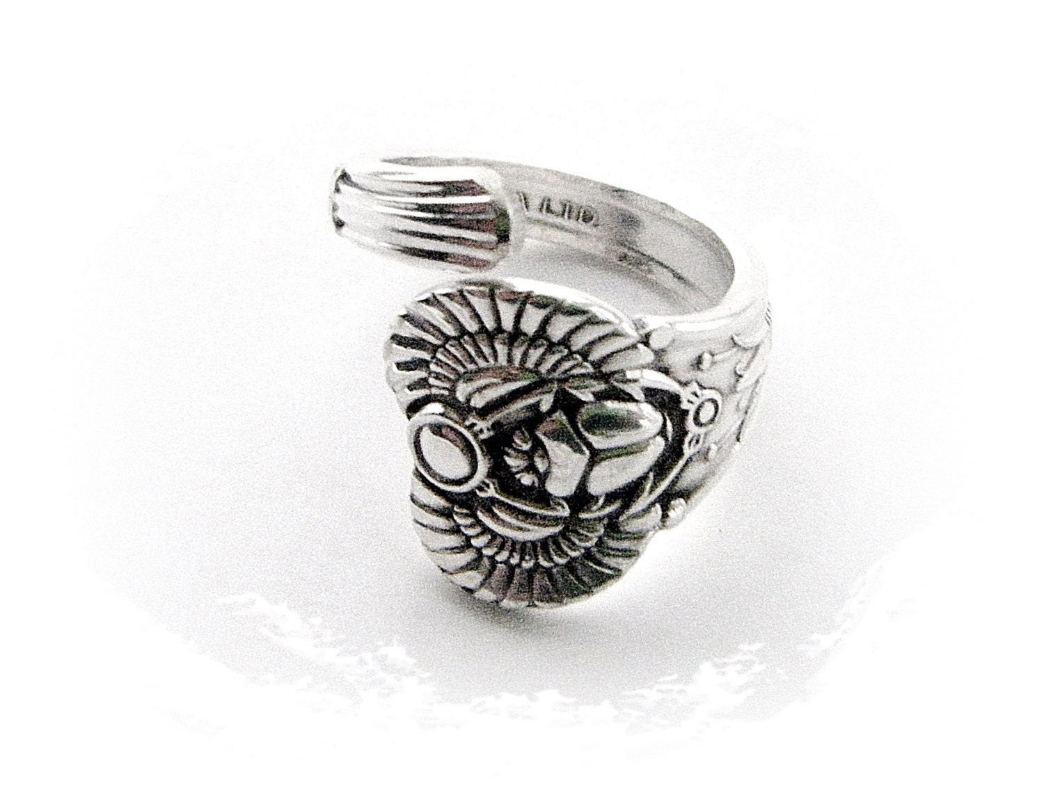 silver plated spoon ring silver scarab beetle spoon