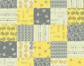 Little Things Organic Patchwork Moda 1 Yard Yellow and Grey
