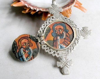 Vintage Coptic Cross Painted Icon Silver Coptic Cross Ethiopian Christian Ethnic Collectible Altar Piece