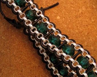 Leather and Crystal Cuff Bracelet Chain Bracelet Leather Wrap Bracelet
