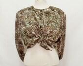 60% OFF 80s Leopard satin blouse Large