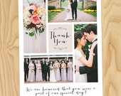 Cream Wedding Thank You Photo Collage - Custom Photo Wedding Thank You Printable Cards