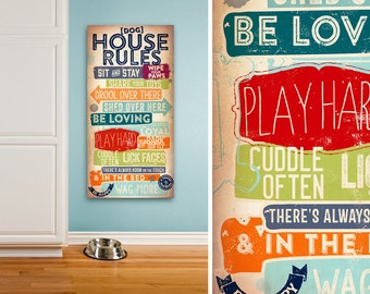 Dog House Rules family rules pet typography couch friendly version artwork on gallery wrapped canvas by Stephen Fowler