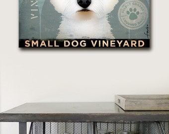 Westie dog Wine Company illustration graphic art on gallery wrapped canvas by Stephen Fowler