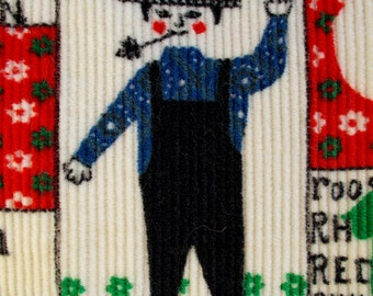 1960s Pinwale Print Corduroy The Farmer and his Wife VERY cute Rare Textile almost 3 yards by 37 wide