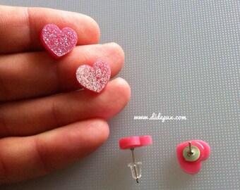PASTEL PINK GLITTER stud hearts earrings