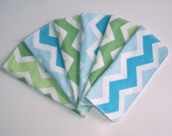 Cloth Baby Wipes Set of 6 2 Ply Flannel Basic Cloth Diaper Wipes Blue Green Chevron Reusable Flannel Wipes, Family Cloth