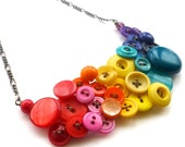 Big Bright Bold Colorful Rainbow Button Statement Necklace
