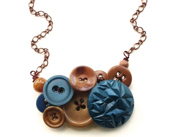 Chunky Monaco Blue and Camel Vintage Button Statement Necklace