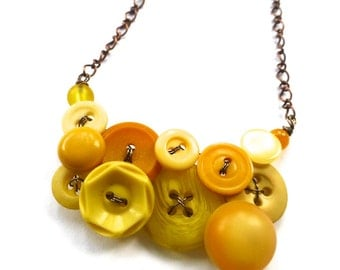 Honey Gold and Mustard Yellow Vintage Button Statement Necklace