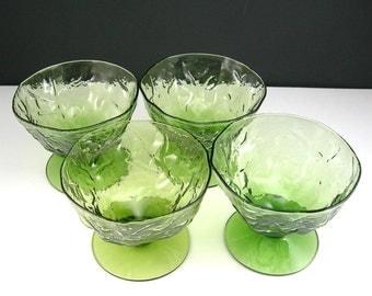 Green Glass Sherbets, Morgantown Seneca, Driftwood Crinkle, Set of 4, Moss Green, Rippled Exterior, Vintage Glassware, Vintage Dessert Bowls