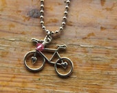 Bike Necklace with sweet silver bike charm and pink crystal