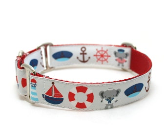 "1"" Anchors Away buckle or martingale dog collar"