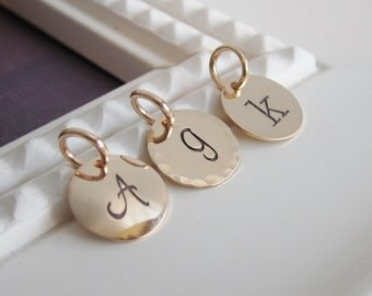 Individual 9mm gold filled initial disc charms