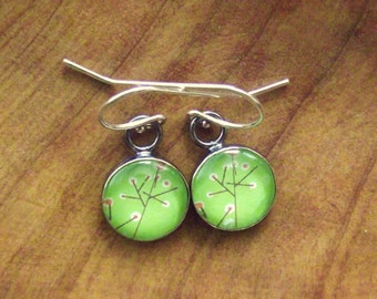 Lime Green, Orange Flowers,Glass, Sterling Silver Earrings
