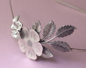 Floral headband bridal leaves elegant silver flower garden romantic vintage style wedding hair