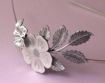 Floral headband bridal leaves elegant silver flower garden romantic vintage style wedding hair