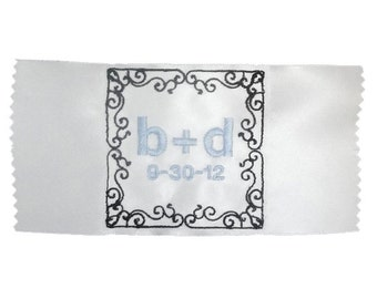 Isabel  Embroidered Personalized Satin Ribbon Wedding Gown Label