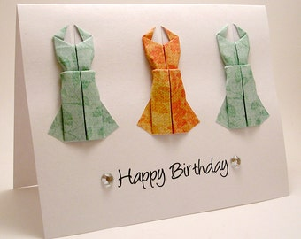 Mini Origami Dress Birthday Card (orange, teal)
