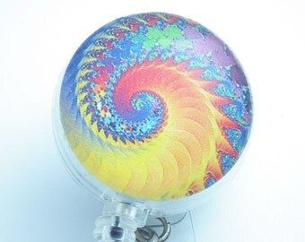 Psychedelic Swirls Yellow Orange Blue  Cabochon Retractable Badge Reel, Name ID Badge Holder-147