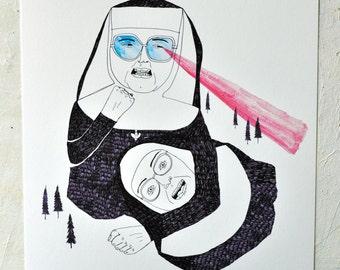 Print, Humor, Illustration, Drawing, Fighting, Strange, Fighting Nuns- Print on Warmtone paper