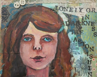 Original Mixed Media Portrait of Girl with Hafiz Poem I Wish I Could Show You
