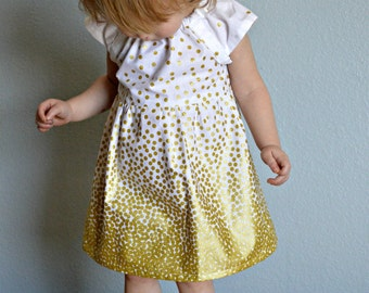 Dress - Gold white glitter first birthday outfit baby girl toddler flower girl confetti Holiday dress Fall photo shoot wedding rose gold
