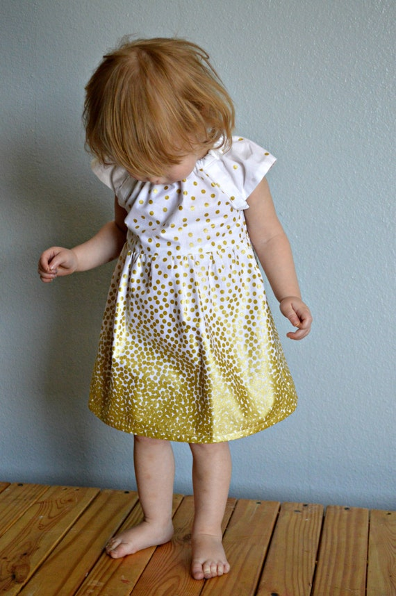 Dress - gold yellow white glitter polka dots  wedding baby toddler girl 0-3, 3-6, 6-12, 12-18, 18-24, 2t, 3t 4t 5t 6 7 birthday flower girl