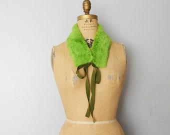 Rabbit fur collar  scarf with satin ribbon
