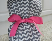 YOU CHOOSE RIBBON Color Turn Up Ponytail Scrub Hat with Gray White Chevron
