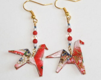 Origami Horse Earrings - Red