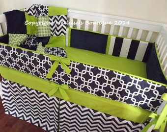 Custom Navy & Lime Chevron Dots Stripes MOD Boutique Crib Bedding Bumper and Crib Skirt 2-Piece Set CHOOSE and CUSTOMIZE