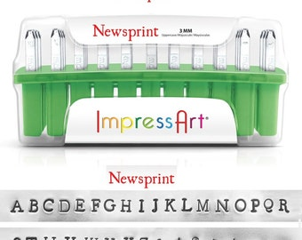 "NEWSPRINT - UPPERcase Typewriter font - steel letter stamps - 1/8"" (3MM) size - includes 7 Bonus DESIGN stamps"