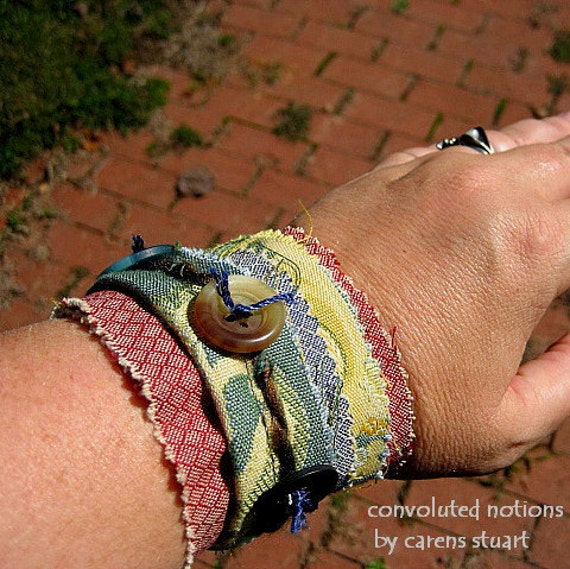 handmade wrist cuff and coffee sleeve with vintage buttons and upcycled fabric remnants