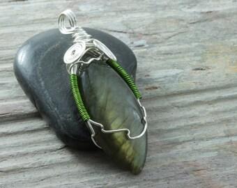 Labradorite wire wrap pendant in silver plated copper