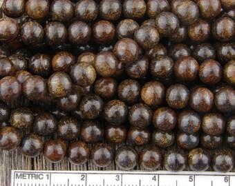 6mm Bronzite Round Beads, Gold and Brown, Smooth Round Bronzite, Gemstone Beads, Natural Bronzite Beads, Bronzeite Beads