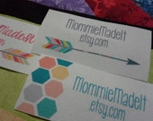 200 Fabric Labels - Sew-On Fabric Labels - Free Customization and Proof Using Any Premade Design Shown OR Your Print-Ready Design