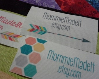 200 Fabric Labels - Sew-On Fabric Labels - Free Customization Using Any Premade Design Shown OR Your Print-Ready Design or Logo
